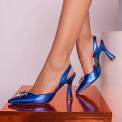 Sapato Scarpin Cinderela Salto Taça Metalizado Azul