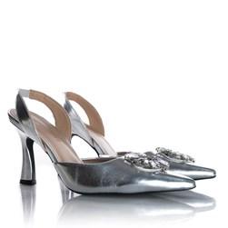 Sapato Scarpin Cinderela Salto Taça Metalizado Prata