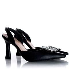Sapato Scarpin Cinderela Salto Taça Metalizado Preto