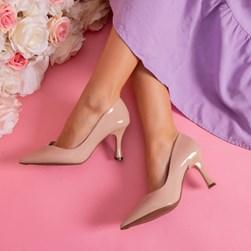 Sapato Scarpin Damaris Liso Salto Taça Nude