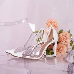 Sapato Scarpin Daniela Vinil de Amarrar Branco