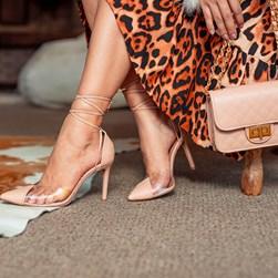 Sapato Scarpin Daniela Vinil de Amarrar Nude