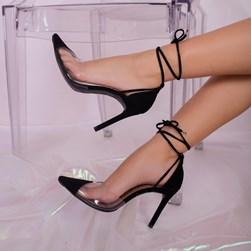 Sapato Scarpin Daniela Vinil de Amarrar Preto
