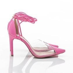 Sapato Scarpin Daniela Vinil de Amarrar Rosa