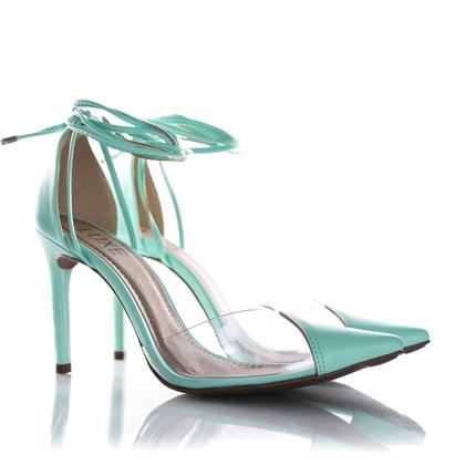 Sapato Scarpin Daniela Vinil de Amarrar Verde Agua