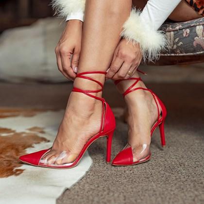 Sapato Scarpin Daniela Vinil de Amarrar Vermelho
