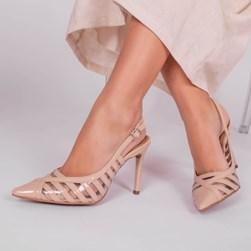 Sapato Scarpin Elis Listras em Vinil com Salto Alto Nude