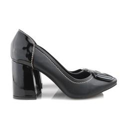 Sapato Scarpin Feminino com Fivela e Salto Grosso Preto Napa
