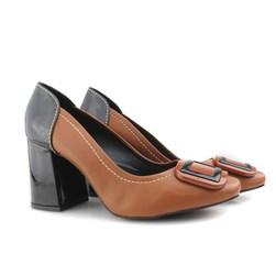 Sapato Scarpin Feminino com Fivela e Salto Grosso Whisky