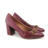 Sapato Scarpin Feminino Croco com Corrente Preto Verniz