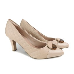 Sapato Scarpin Feminino Matelassê Bico Fino Creme