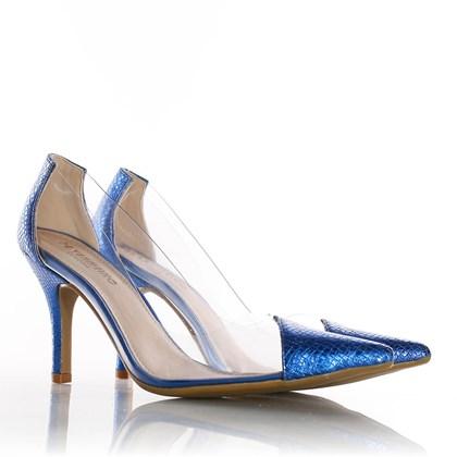 Sapato Scarpin Jaqueline Vinil Transparente Azul