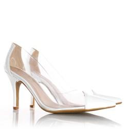 Sapato Scarpin Jaqueline Vinil Transparente Branco Napa