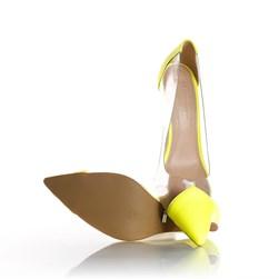 Sapato Scarpin Jaqueline Vinil Transparente Lima Neon