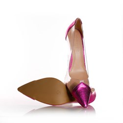 Sapato Scarpin Jaqueline Vinil Transparente Pink