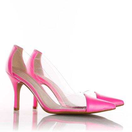 Sapato Scarpin Jaqueline Vinil Transparente Pink Neon