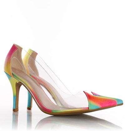 Sapato Scarpin Jaqueline Vinil Transparente Tie Dye V7