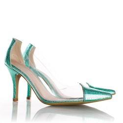 Sapato Scarpin Jaqueline Vinil Transparente Verde