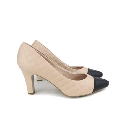 Sapato Scarpin Napa Matelasse Bico Fino Antique