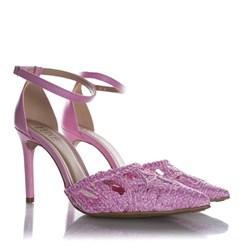 Sapato Scarpin Paola em Palha Trançada Rosa