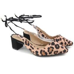 Sapato Scarpin Salto Baixo Recorte V Com Amarração Onça