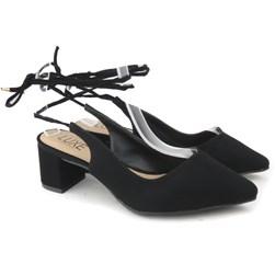 Sapato Scarpin Salto Baixo Recorte V Com Amarração Preto Nobuck