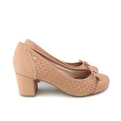Sapato Scarpin Social Bico Redondo Trissê com Laço Antique