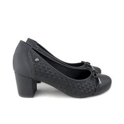 Sapato Scarpin Social Bico Redondo Trissê com Laço Preto Napa
