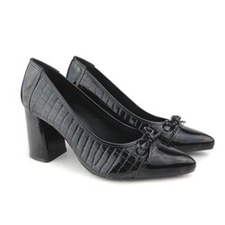Sapato Scarpin Social Croco com Laço Preto Verniz
