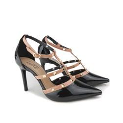 Sapato Scarpin Verniz com Spikes e Fivela Preto/Fancy