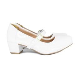 Sapato Social Boneca Com Saltinho Branco