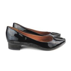 Sapato Social com Fivela Salto Baixo Quadrado Preto Verniz