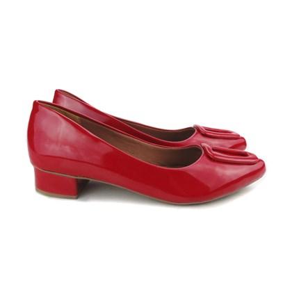 Sapato Social com Fivela Salto Baixo Quadrado Vermelho