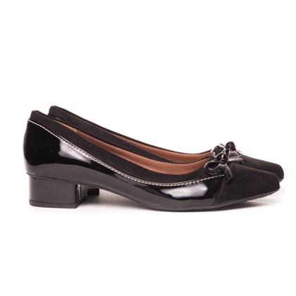 Sapato Social Com Saltinho Bico Fino Confort Com Lacinho  Preto