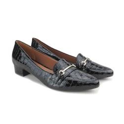 Sapato Social Mocassim Salto Baixo Quadrado Croco Preto Croco