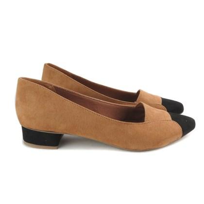 Sapato Social Salto Baixo Quadrado com Bico Preto Caramelo
