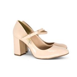 Scarpin Boneca Sapato Feminino Salto Grosso Lançamento Nude
