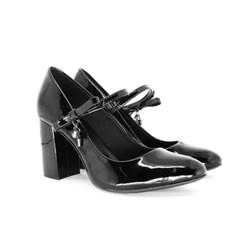 Scarpin Boneca Sapato Feminino Salto Grosso Lançamento Preto