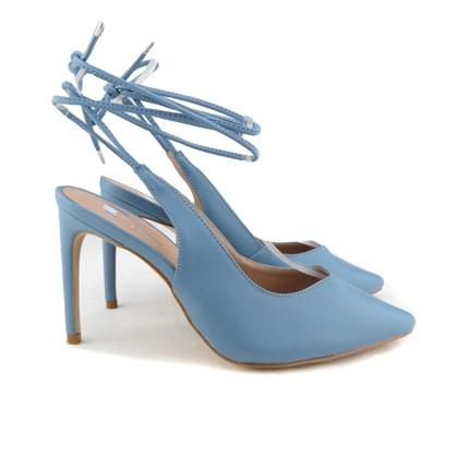 Scarpin Recorte V com Amarração Azul Claro