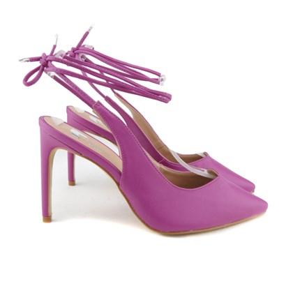 Scarpin Recorte V com Amarração Pink