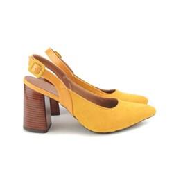 Scarpin Sapato Feminino Salto Grosso Lançamento Amarelo