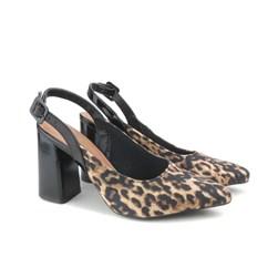 Scarpin Sapato Feminino Salto Grosso Lançamento Oferta  Onça
