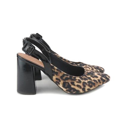 Scarpin Sapato Feminino Salto Grosso Lançamento Onça