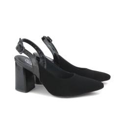 Scarpin Sapato Feminino Salto Grosso Lançamento Preto
