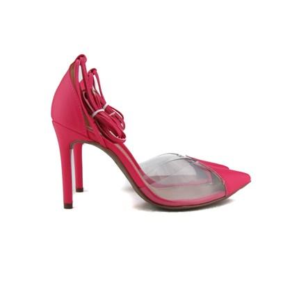 Scarpin Transparente De Amarrar Sapato Salto Alto Blogueira  Chiclete