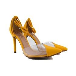 Scarpin Transparente De Amarrar Sapato Salto Alto Blogueira  Ouro