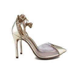Scarpin Transparente De Amarrar Sapato Salto Alto Blogueira  Ouro Light