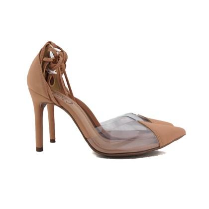 Scarpin Transparente De Amarrar Sapato Salto Alto Blogueira  Pele