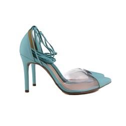 Scarpin Transparente De Amarrar Sapato Salto Alto Blogueira  Pistache