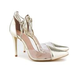 Scarpin Transparente De Amarrar Sapato Vinil Salto Alto  Ouro Light